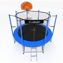 Батут i-JUMP Basket 14ft 4,27м с нижней сетью и лестницей (blue)